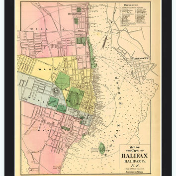Old Map of Halifax Nova Scotia Canada 1878
