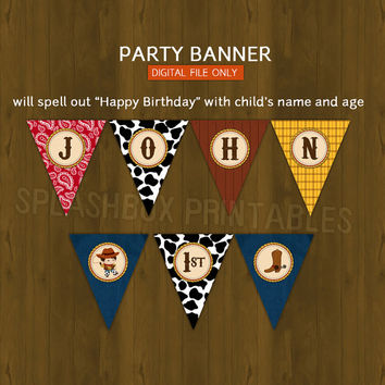 Cowboy Printable Birthday or Baby Shower Banner - Cow boy Wild Wild West Bunting or Banner Pennants - DIGITAL FILE