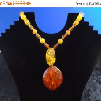 Christmas Sale Vintage Orange Necklace Mid Century Collectible Costume Jewelry 1980s