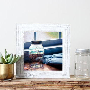 Square print, surrealism, wildflowers on beach, summer in a mason jar, fine art photography, original, unique, eclectic wall art, home decor