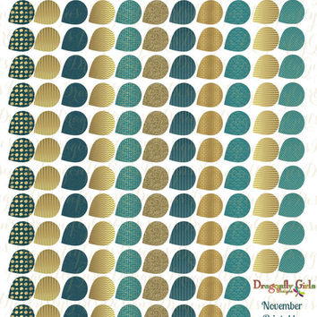 November Teal and Gold Printable Planner 139 Small Teardrops Stickers  PDF and jpeg Erin Condren Life Planner Kikkik Filofax