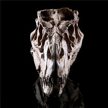 Skull Skulls Halloween Fall Newest Tyrannosaurus Rex dinosaur Resin Fossil  Model Collectibles light color 15*11.5*8cm Calavera