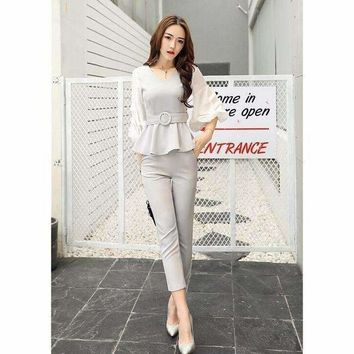 Women Business Suits Formal Strench Suits Work Uniform Designs Women Top Cropped Pant 2 Piece Set