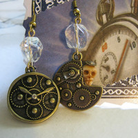 Steampunk Skull Gears Earrings