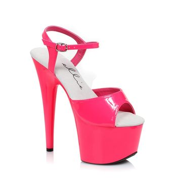 Fuchsia Neon Ankle Strap Sandal 7 Inch Stiletto Heels Stripper Shoes