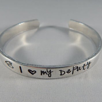 I love my Deputy Hand Stamped Bracelet - I heart my Deputy - Deputy's Wife - Deputy's Girlfriend - kg26168