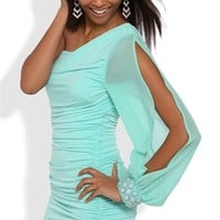 One Shoulder Dress with Stone Cuff Long Sleeve