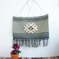Large wall hanging with fringes, wool tapestry, large handwoven wool wall hanging - handwoven wall art tapestry made of pure wool