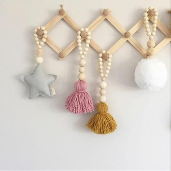 100% Handmade Wood Beads With Star Heart Pendant Tent Nautical Decoration Children's Room Wall Decor Baby Crib Decoration Photo