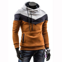 Autumn Slim Hoodies Men Sweatshirt Long Sleeve Pullover Hooded Sportswear Male Patchwork Fleece Tracksuit