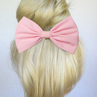 Hair Bow Clip - Baby Pink
