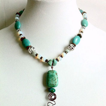 Magnesite Copper Pendant Necklace Raw Opal Exquisite Beads Blue Green Artisan Necklace Copper Wire Wrapped Turquoise Magnesite Stone