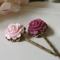 Set of 2 Rose Resin Flower Cabochon Filigree Hair Bobby Pin Pale Pink lilac/ Mauve /Matte Light Purple