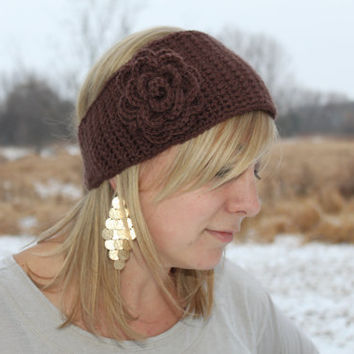 Crocheted Headband with flower you pick color by makinitmama