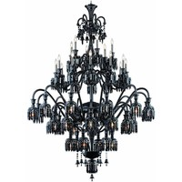 "Majestic 60"" Diam Chandelier, Jet Black Crystal, Elegant Cut"