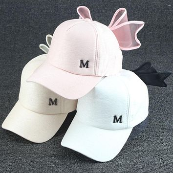 Sweet Cute Bowknot Women's Girl's Solid Sports Snapback Hat Travel Sunshade Cap Adjustable