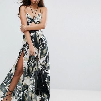 ASOS TALL Beach Maxi Dress With Strap Detail in Mono Palm Print at asos.com