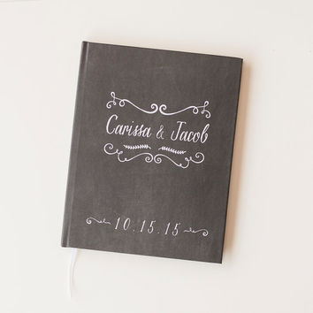 Wedding Guest Book Wedding Guestbook Custom Guest Book Personalized chalkboard guest book rustic wedding chalkboard keepsake gift chalk book