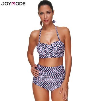 JOYMODE 2017 Newest Design High Waist Halter Neck Printed Women Swimwear Swimsuit Push Up Sexy Bikini Set Plus Size Bathing Suit