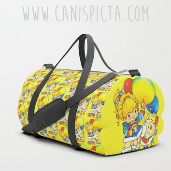 80s Inspired DUFFEL BAG Rainbow Brite Eighties Travel Suitcase Yellow Bright Cartoon Television TV Show Retro Kid Children Vintage Sprite