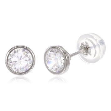 14k White Gold 5mm Round Bezel Stud Earrings with Silicone Back