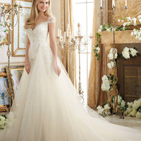 Mori Lee 2894 Beaded Fit & Flare with Removable Tulle Skirt Wedding Dr – Off White by Bridal Expressions