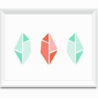 Mint Green and Coral Geometric Faceted Gems Art Print Poster, Tribal Modern Art, Art Minimalist Wall Art Bold Trendy Home decor Cut Diamonds