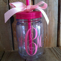 Monogram mason jar tumbler Customizable 16 oz double wall personalized acrylic mason jar with straw