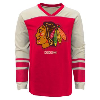 Youth Chicago Blackhawks Long Sleeve Vintage Crew By CCM