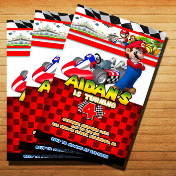 Mario Kart Birtday Invitation Without PhotoInvitation Cards 4x6, 5x7, Customized