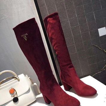 Prada Europe and the United States new fashion ladies sheep suede with heel boots DCCK