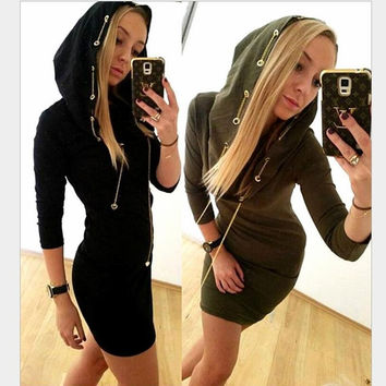 Sexy buckle metal chain with a hat package hip dress women New Women Lady Long Sleeve Vogue Stylish Charming Adorable 5500