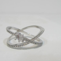 Cross Ring X Ring, CZ Criss Cross Ring, Friendship Ring, Sterling Silver X Ring, Unique rings, X Knuckle Ring, Cubic Zirconia Crossover Ring