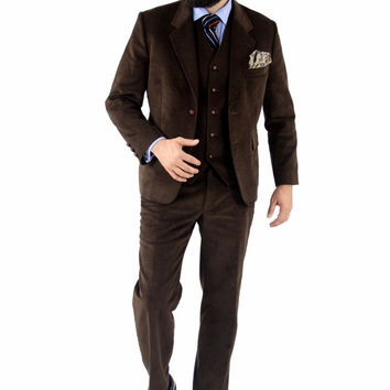 Cordifornia Handmade Slim Fit 3 Piece Suit Coffee Monkey Suits