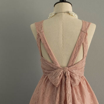 Party V Backless Dress Smoky Pink Dress Pale Pink Nude Lace Dress Pink Lace Party Prom Dress Pink Lace Bridesmaid Dress Cocktail Dress XS-XL