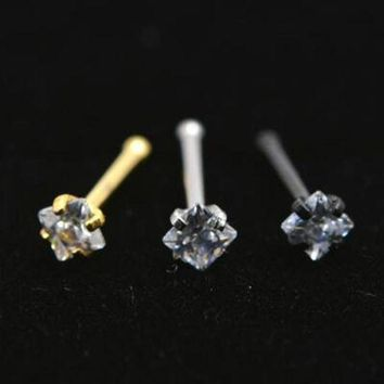 ac PEAPO2Q 2Piece 20Gx6x2mm Gold Square Zircon Nose Ring Stud Rings Silver Piercing Tragus Ear Piercing Earring Nose Nail Body Jewelry