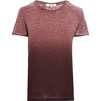 River Island MensRed faded burnout print t-shirt