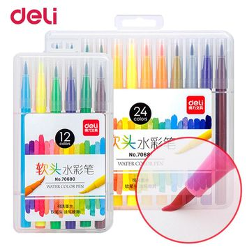Deli New Watercolor pen soft brush pen markers 2018 set for school drawing copic marker pens for sketch art design stabilo