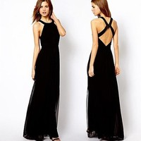 2014 Fashion Dress, Europe And America Fan Black, White, S-XL Size Slim Thin Long Section of Mopping Halter Chiffon Dress, Fashion Clothes Online with $28.9/Piece on Wodedh's Store | DHgate.com
