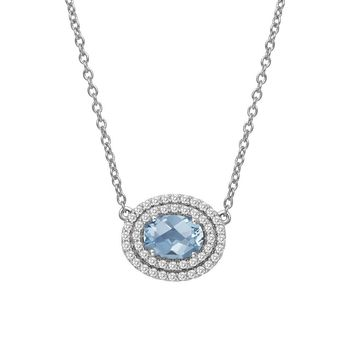 Lafonn Aria Sterling Silver Platinum Plated Lassire Blue Topaz Necklace with Lassaire Simulated Diamonds