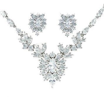 Morgan Marquise CZ Cluster Necklace Set