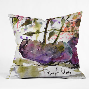 Ginette Fine Art Purple Potatoes Outdoor Throw Pillow