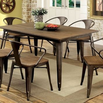 CM3529T-7PC 7 pc cooper i natural elm finish wood top and metal finish legs dining table set