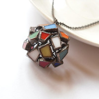 Statement necklace stained glass pendant colorful one of a kind copper wire jewelry Molecule