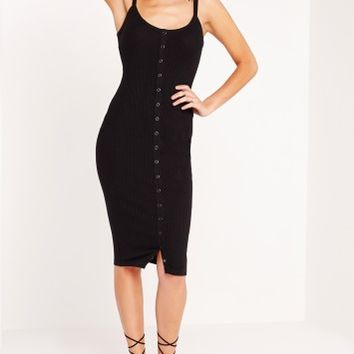 Missguided - Popper Front Strappy Midi Dress Black