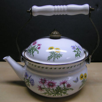 Vintage Enamelware Teapot in White w/ Lovely Floral Design Super Cute Rustic Country Farmhouse Accent Piece Unique Tea Coffee Service Piece