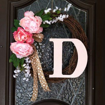 Spring Wreath, Personalized Spring Wreath, Grapevine Personalized Spring Wreath, Monogramed Spring Wreath, Wedding Wreath, Easter Wreath