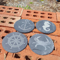 Nautical Themed Laser Engraved Natural Slate Coasters ~ Crab ~ Seahorse ~ Wheel ~ Anchor ~ Home Decor ~ Beach Decor ~ Housewarming Gift