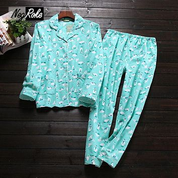 Autumn casual 100% flannelette brushed cotton long sleeve women pajama sets Cute cartoon keep warm sleepwear women pyjama femme