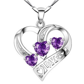 Forever Love Three Heart Pendant Necklaces Superposition Romantic Purple for Valentine's Day Gift PD0075